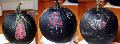 pumpkin colored with chalk