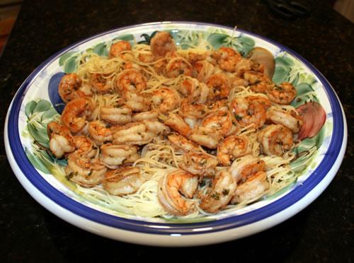 shrimp over angel hair