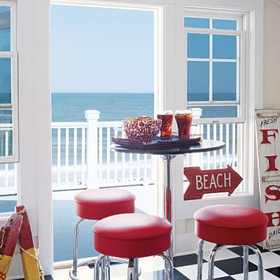 retro red bar stools