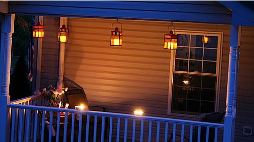 porch lanterns at night