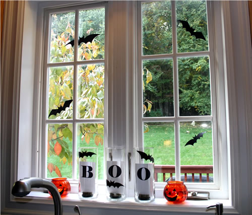 boo halloween decor on window sill