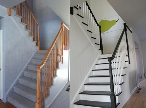 painting stairs before and after