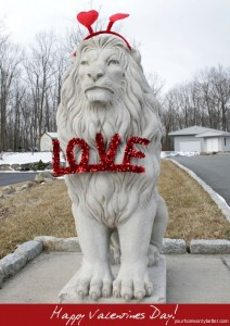 Lion Statues Dressed for Valentines Day
