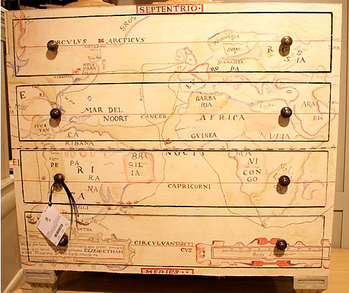 map painted on dresser