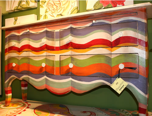 rainbow painted credenza