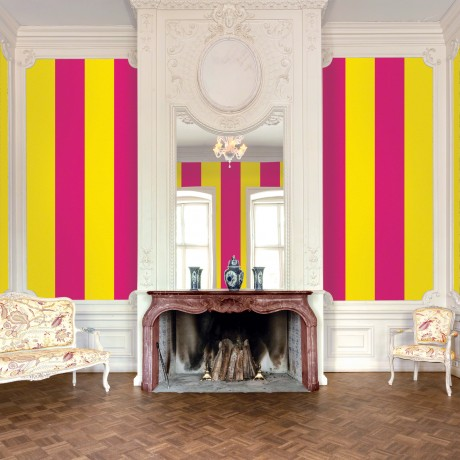 stripe raspberry mango removable wallpaper