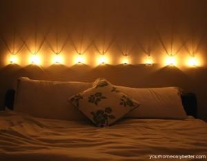 romantic candle lighting in bedroom