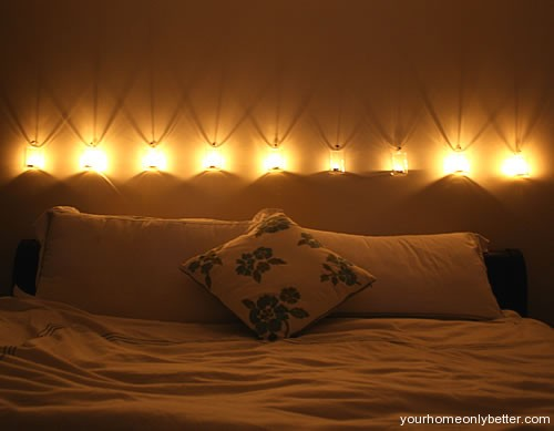 romantic candle lighting in bedroom