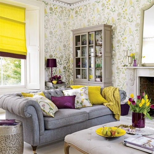 happy yellow in a living room, paired with grays and purples