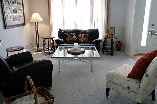 living room with upcycled coffee table