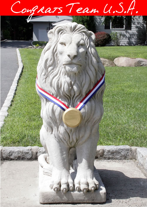 lion statue Olympic Gold Medal