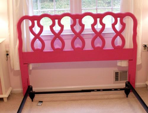 pink painted headboard