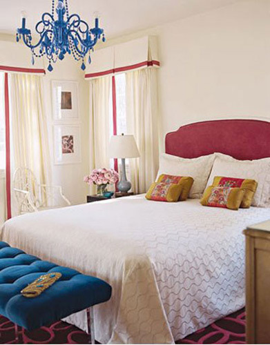 white bedding with colorful accents