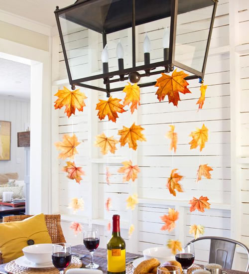 leaves hanging from chandelier
