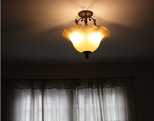 vintage light in dining room