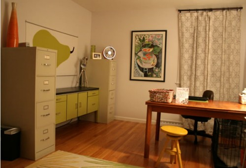 home office with painted green cabinet