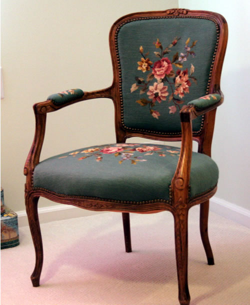 embroidered antique chair