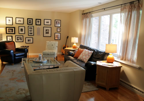 living room with refinished end tables