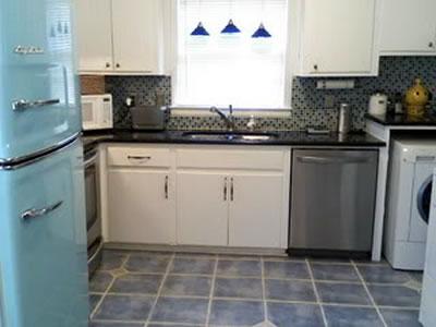 retro kitchen beach blue