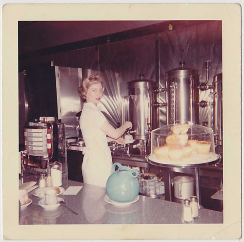 Waitress at Diner Vintage Photograph