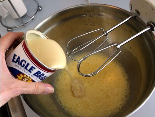 mixing key lime pie