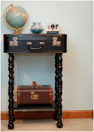 Vintage luggage storage table