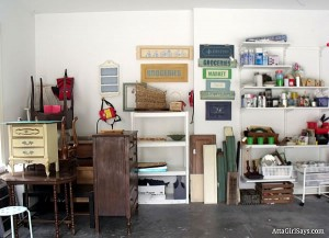 organized craft project room in garage
