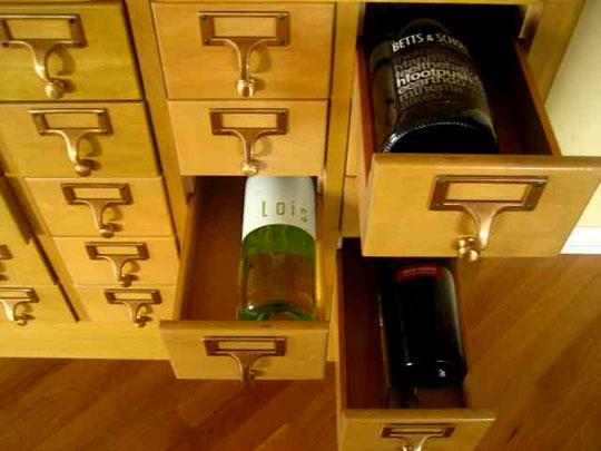 library catalog repurposed to hold wine