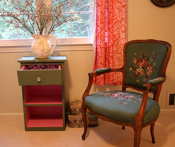 painted night table with chair