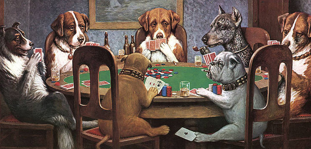 dogs playing poker in man cave