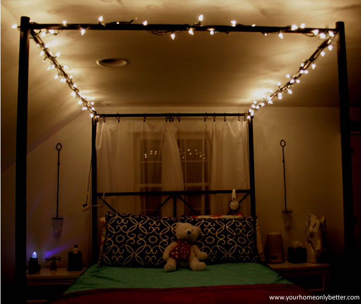canopy bed with string lights #teen #bedroom #diy #decor #yourhomeonlybetter