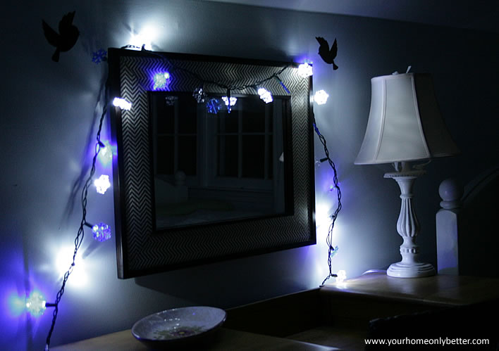 string lights hanging on mirror #guestroom #diy #decor #yourhomeonlybetter