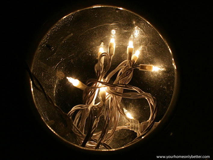 easy #diy uplighting project with holiday string lights in a pot #decor #yourhomeonlybetter