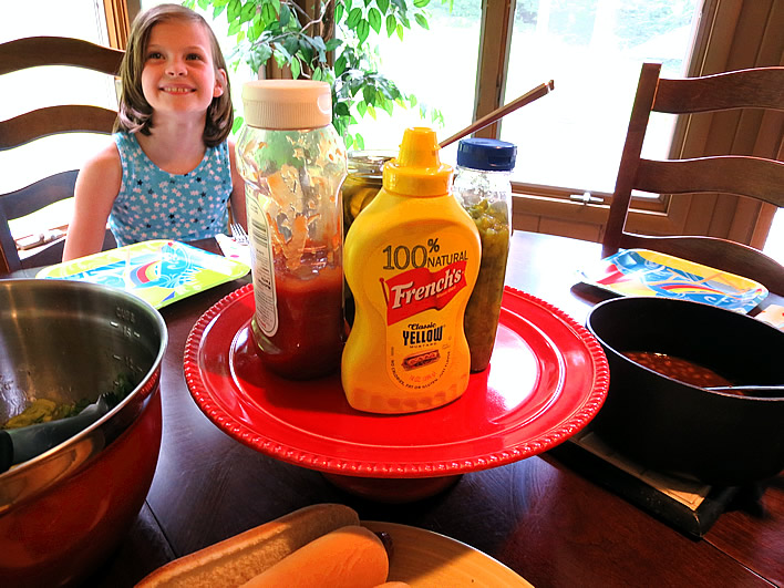 Condiment Platter on a cake stand #frenchs #mustard #sponsored #dinner