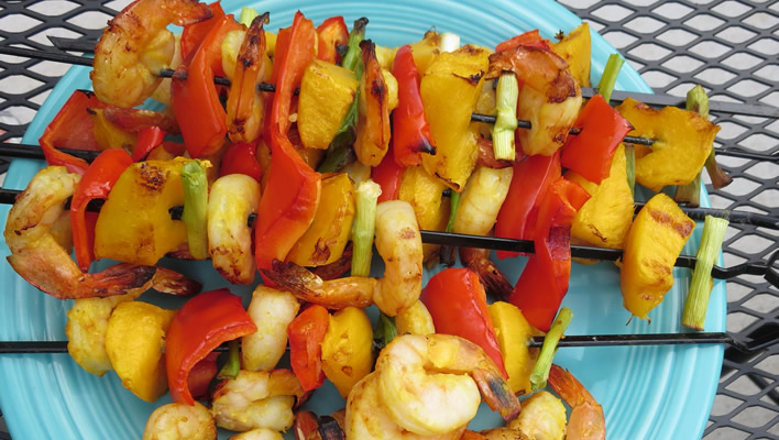 Tropical Shrimp and Mango Kabobs