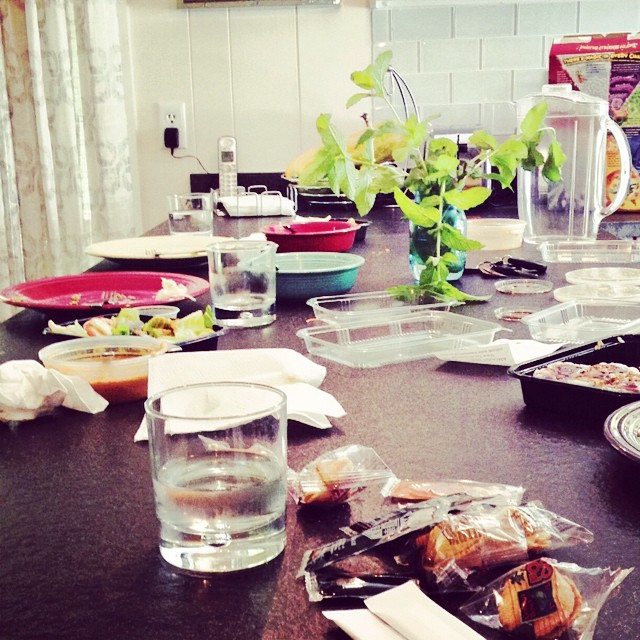 #sushi lunch aftermath. Now who's going to clean all this up? Lol