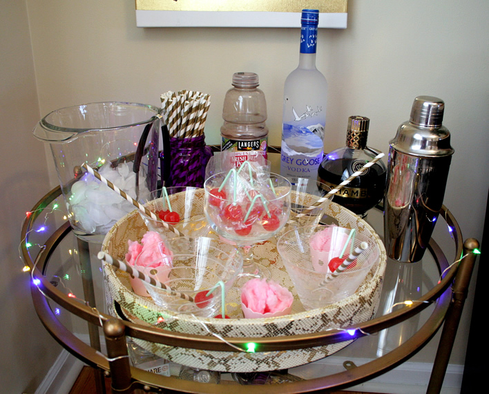 Cotton Candy Cosmo as Performance Art #Cocktails #barcart