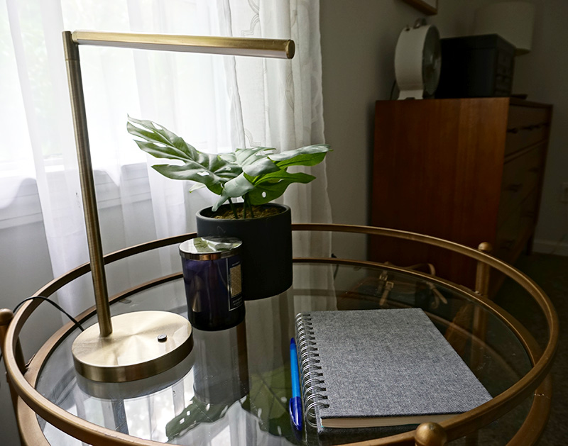 bedroom reading corner table