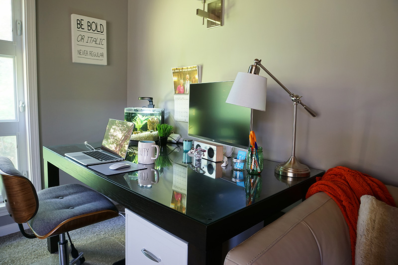 home office in rec room